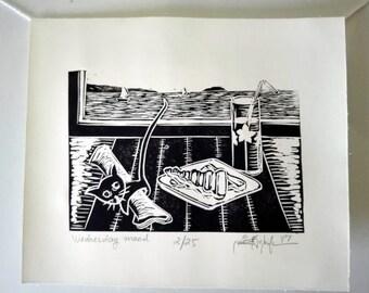 "Original Handmade Linocut Print, 8"" x 7"", Small size art, Limited edition, Wednesday mood, cat, panini, black ink, wall decor, gift idea"