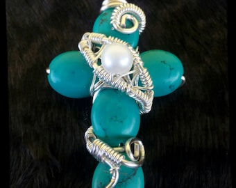 Silver plated copper cross pendant with turquoise Freshwater Pearl
