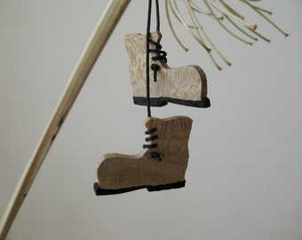 A pair of Shoes - Wooden  Ornaments / Handmade ornaments / Christmas decor / Christmas ornaments