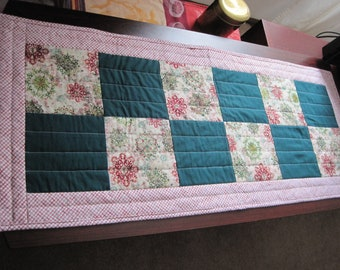 Quilted Table Runner or Vanity Topper Machine Quilted