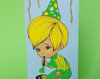 Vintage 70s greeting card | Belated birthday | Sorry I missed your birthday | Party pooper