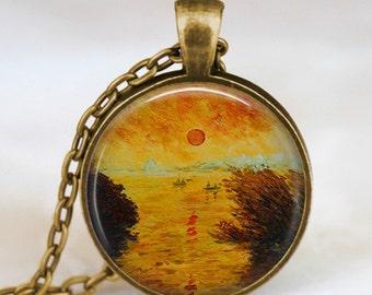 Claude monet sunrise necklace ,sunrise pendant , monet art pendant, monet jewelry,Impressionist  jewelry