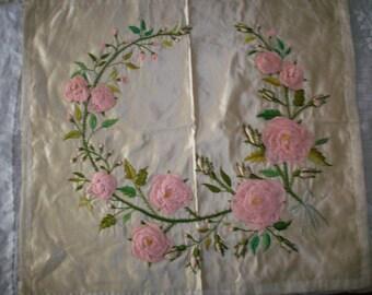 Final Sale Breathtaking ribbon work pink roses pure silk frame or pillow stump work