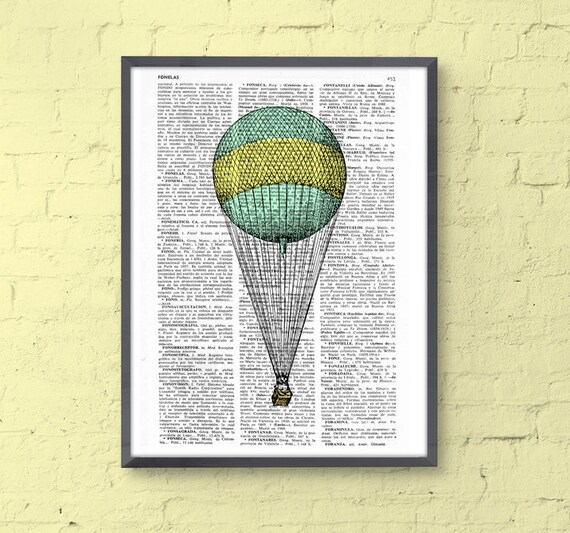 Simple Hot air Balloon Wall art Print, Hot air balloon decoration, mixed media art giclee print, nursery room decor, wall hanging BPTV077