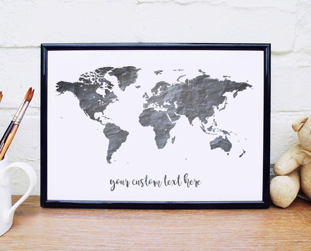 Monochrome print world map custom quote poster slate wall art ampliar gumiabroncs Image collections
