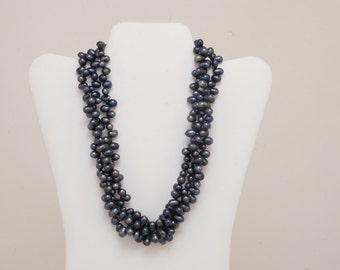 Triple-strand Black Pearl Necklace - 18 to 21 inches