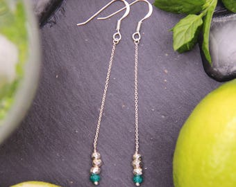 Earrings Silver 925 & green Onyx (natural semiprecious stone), gift idea, personalized, fine jewelry