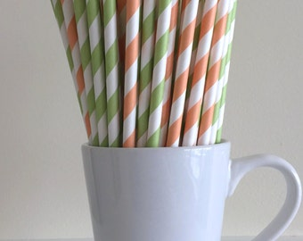 Peach and Green Paper Straws Light Coral and Light Green Party Supplies Party Decor Bar Cart Cake Pop Sticks Mason Jar Straws Graduation
