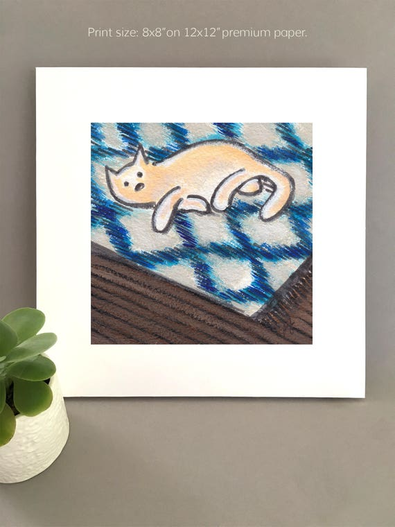 Ikat art, white cat art for my house, ikat rug, art for my house, ikea inspired white cat illustration, blue ikat pattern  FREE Shipping
