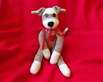 Sock Monkey Puppy Dog Fido the Faithful Plush Stuffed Animal Toy Doll Rockford Red Heel Socks