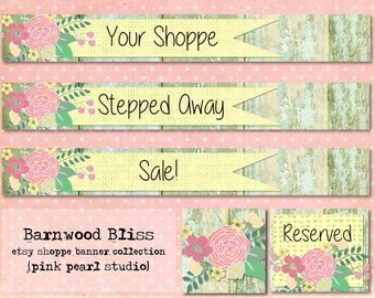 Barnwood Bliss Chippy Shabby Vintage Etsy Shop Set, Includes Banner, Avatar, Reserved Listing, Away and Sale