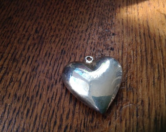 Heavy Silver Plated Heart Charm