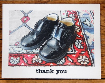Little Shoe Thank You, a set of 8 handmade thank you cards with envelopes