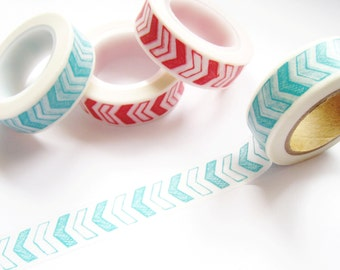 Aqua and White Arrows Washi Tape - Planner Washi Tape - Aqua and White Arrows Masking Tape - 10 mt - Decorative Tape - Arrows Planner Tape