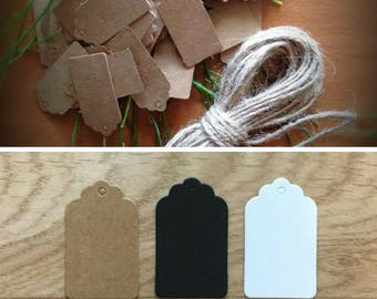 Lot of 200 pcs Small Brown White Kraft Paper Tags Lace Scallop Head Label Luggage Wedding Note String DIY Blank price Hang Gift Hang vintage