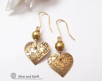Gold Heart Earrings, Lightweight Dainty Tiny Earrings, Brass Earrings, Mother's Day Gift, Free Gift Wrap, Small Gold Earrings, Gifts for Her
