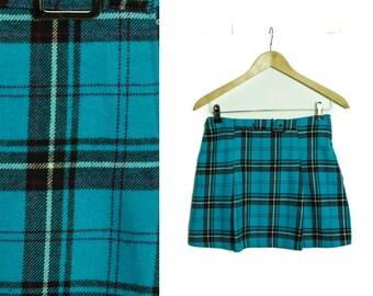 Plaid mini skirt, Tartan skirt, Blue Plaid skirt, Vintage skirt, Blue Plaid skirt, Checkered skirt, Back to school skirt, 90s  / XS Small