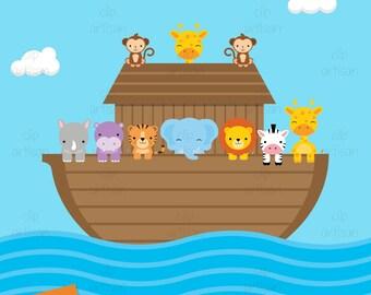 Noah's Ark Clipart / Ark Clip Art / Animal Clipart / Religious Clipart / Ark Animals Clipart