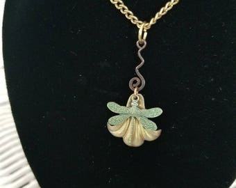 OOAK BJD SD one third chain necklace, dragonfly and flower necklace