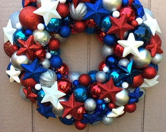 Ornament Wreath, Patriotic, Red, White, and Blue, Military, Veteran, Proud American