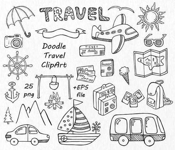 doodle travel clipart hand drawn summer clipart digital clip rh etsy com doodle first clipart doodle frame clipart