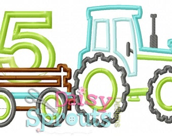 Tractor With Wagon Pulling 5 Applique Design INSTANT DOWNLOAD