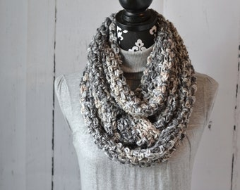 Triple Loop Neutral Cowl Crochet Ready to Ship