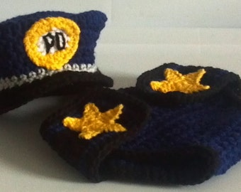Policeman hat and diaper cover crochet Pattern, Bonus Handcuffs, Newborn only