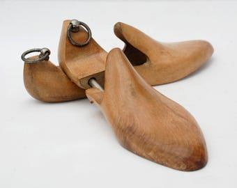 Wooden Shoe Tree, Wood shoe form for men, Vintage wood decor,  Industrial style.