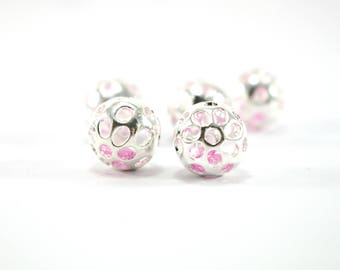 1 metal with Rhinestone imprisoned - Diam Pearl. 12.5 mm - silver color clear and pale pink rhinestones