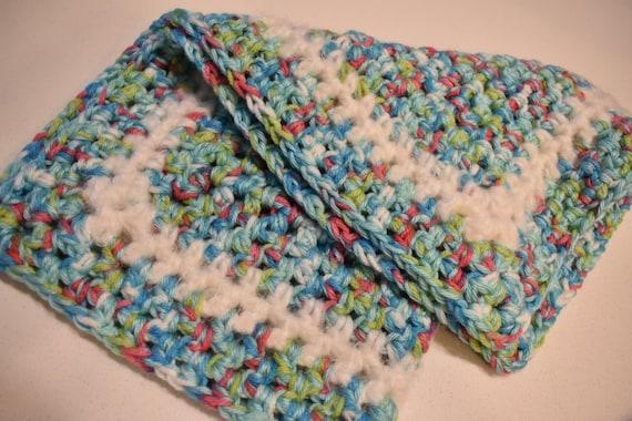 Speckled Sky Blue Crochet Cat Mat