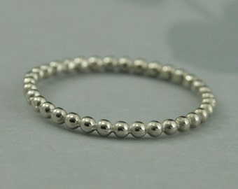 14K White Gold Bubble Band--Beaded Band--White Gold Stacking Ring--Thin Spacer Band--Unique Wedding Band