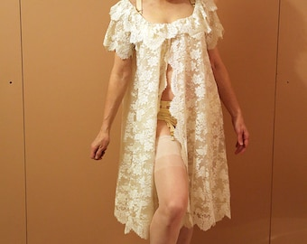 60s babydoll maternity lace dressing gown
