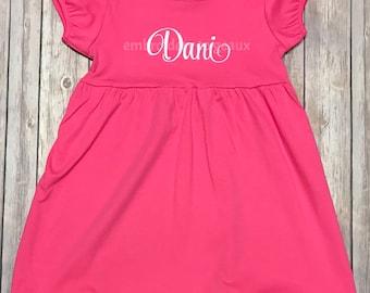 Monogrammed Dress for Girls, Girls Monogrammed Dress, Toddler Girls Dresses, Toddler Girls Outfit, Personalized Dress, Toddler Girl Dress