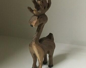 Handmade wooden reindeer
