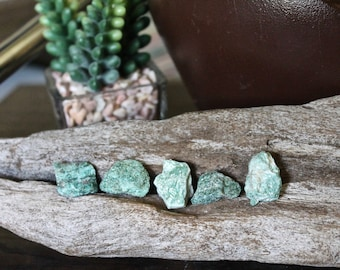 5 pcs. Raw Green Fuchsite Stones, Wiccan Altar Supplies, Rough Gemstone, Chakra, Reiki Healing