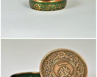 Japanese Coin Ring, Green Ring, Japanese Ring, Coin Ring, Bronze Ring, Japanese Coin, Japanese Jewelry, Coin Rings, Japanese Art, Coin Art