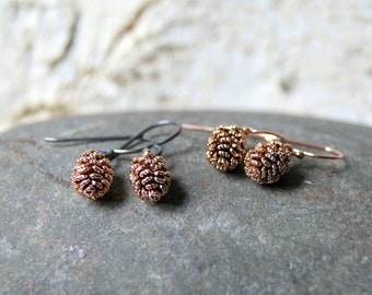 Antiqued Rose Gold Pine Cone Earrings - Pinecone Charm Earrings