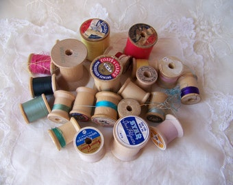 Vintage Wooden Thread Spools (lot of 23).Vintage Sewing.Sewing Room Decor.Old Thread Spools. Coats & Clark Thread. Make Do and Mend. Sewing.