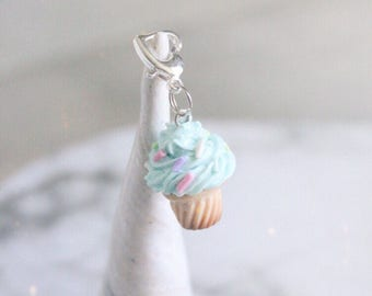 Cupcake Planner Charm, Turquoise Aqua Blue, Miniature Food Pastel Polymer Clay charm