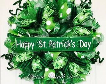 St. Patrick's Day Wreath, Saint Patrick's Day Wreath, Irish Wreath, St. Patrick's Day Deco Mesh Wreath, Clover Wreath