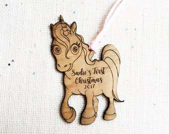 Personalized Unicorn Christmas Ornament - Custom Rustic Wood Ornament - Under the Sea Baby Gift - Baby Shower