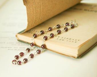 Garnet Gemstone Bracelet - Sterling Silver Wire Wrapped Burgundy Simple Delicate - Joy, Passion, Healing, January Birthstone