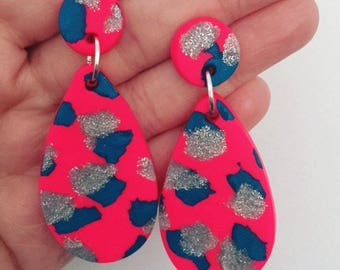 Hot Pink, Teal and Silver Clay Dangle Earrings