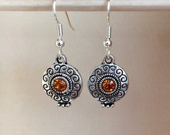 Silver and Amber Circle Earrings, Short Silver and Amber Earrings, Short Silver Earrings, Silver and Gold Earrings, Silver & Yellow Earrings
