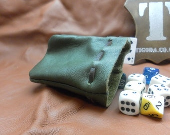Green leather dice pouch