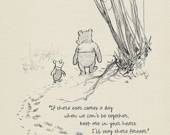 If there ever comes a day...  Winnie the Pooh Quotes - classic vintage style  poster print #04