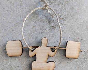 Backsquat,Backsquat Ornament,Wood Ornament,Christmas Ornament,Fitness Ornament,Weight lifting,Weightlifting Ornament,Rustic, Rustic Ornament