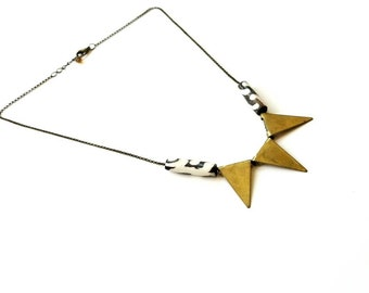 Brass geometric triangle necklace//African bohemian statement  necklace - brass triangle pendant necklace// The Chi necklace