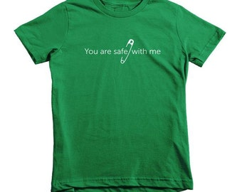 Safety Pin Shirt - Safe with me kids - social justice, anti-discrimination, equal rights
